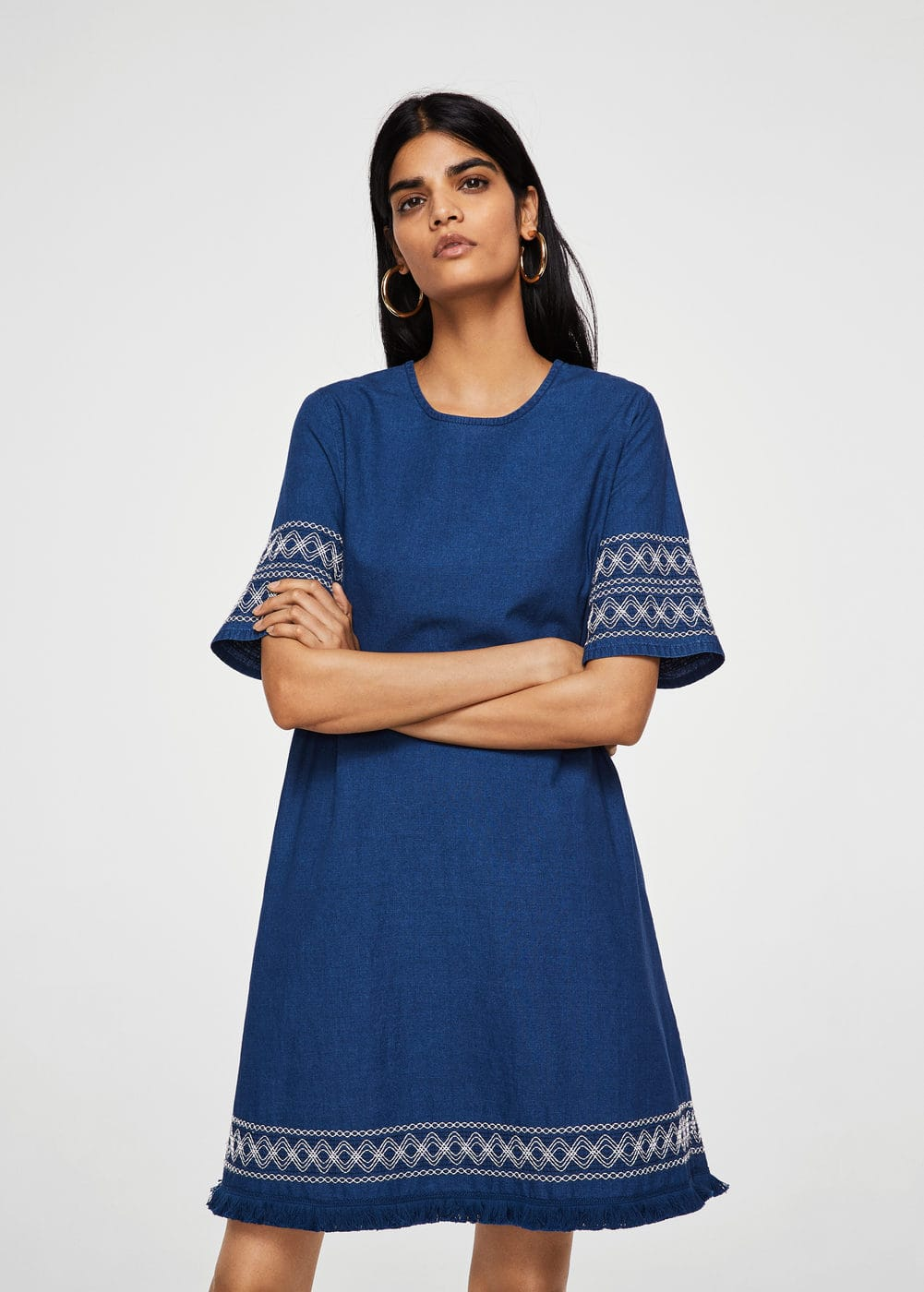 Embroidered denim dress | MANGO