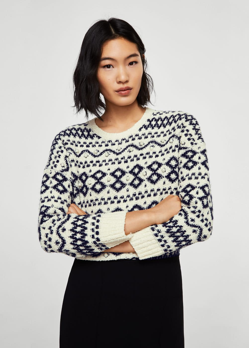Pearls knitted sweater | MANGO