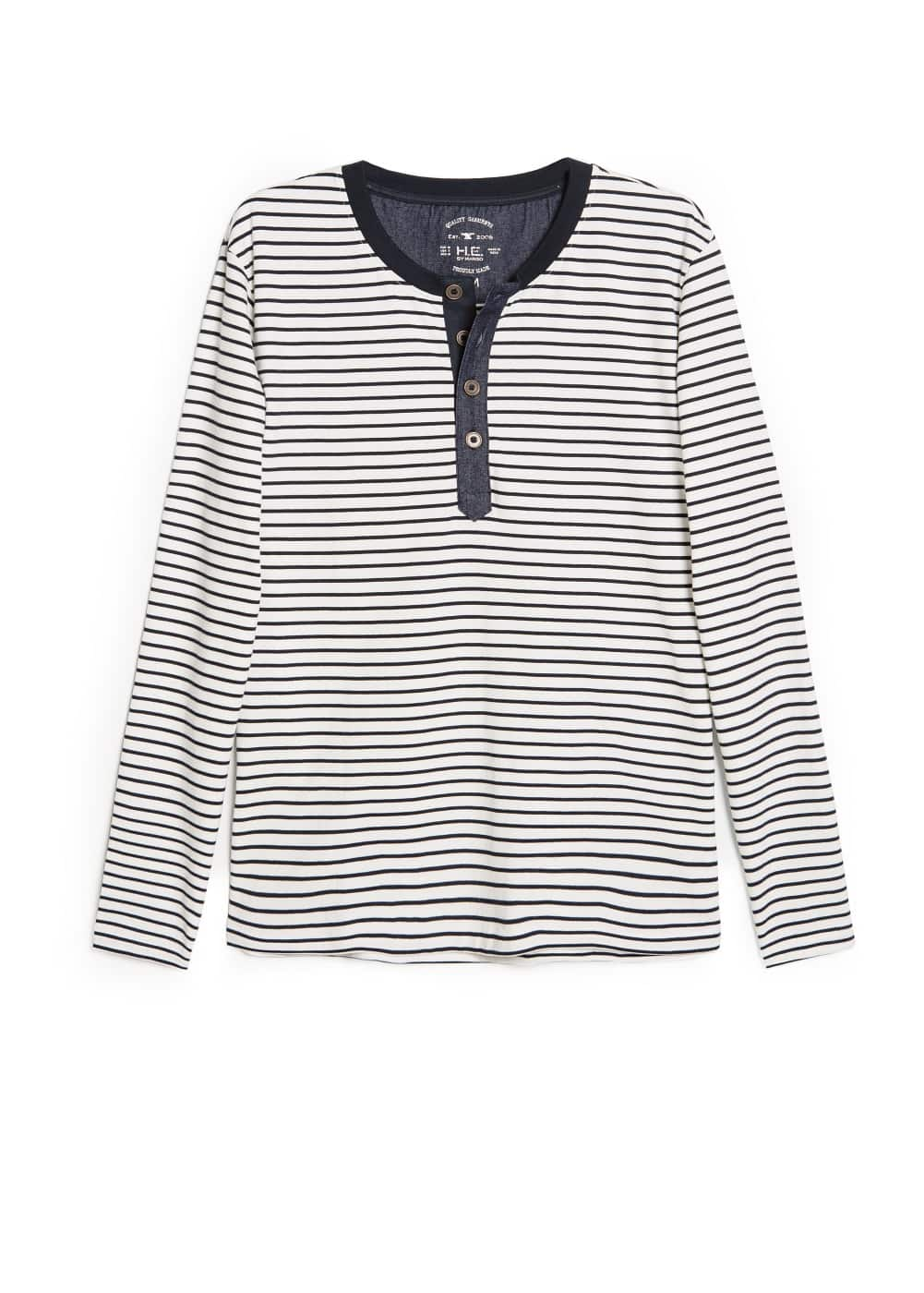 Striped henley t-shirt | MANGO