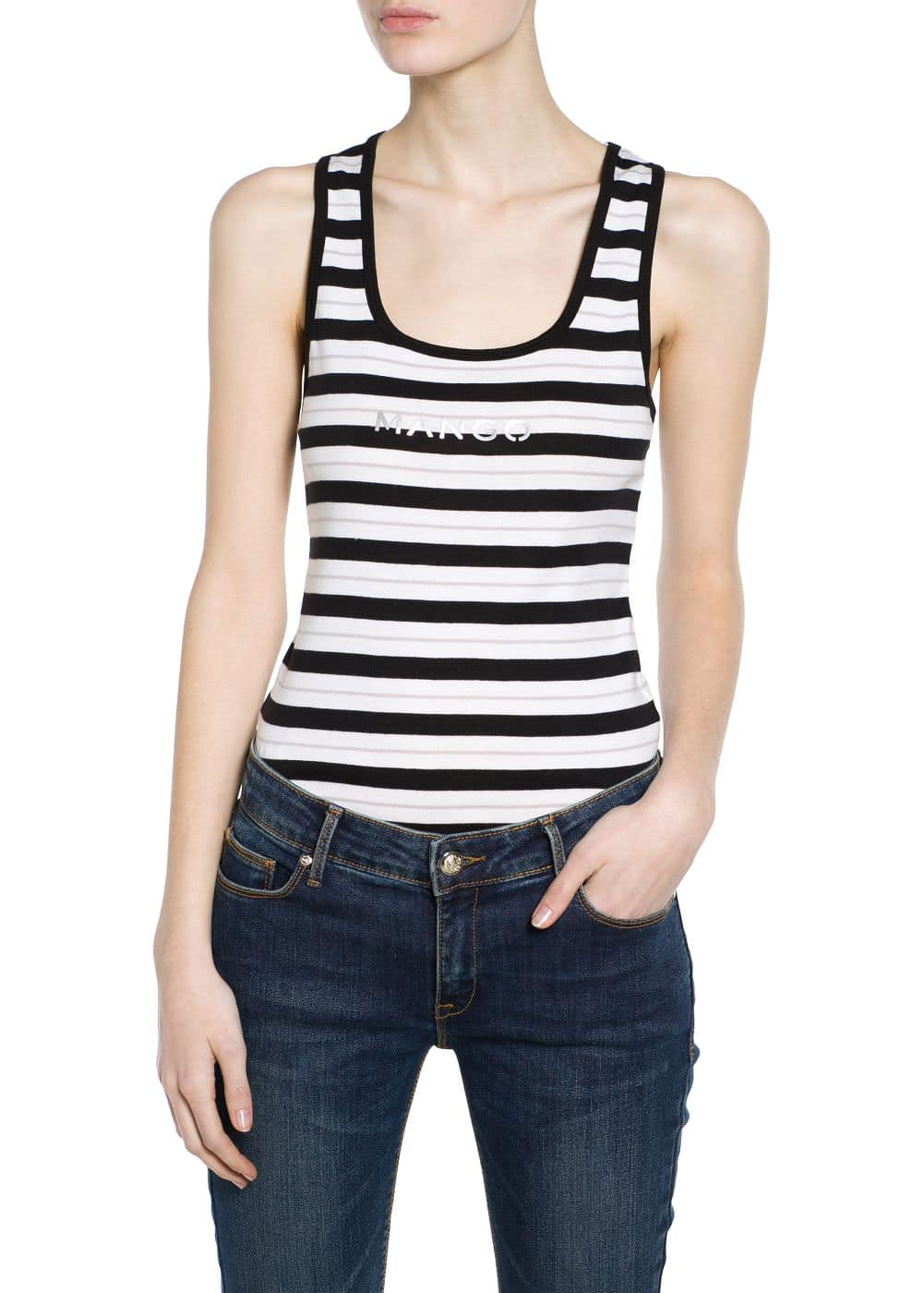 Logo striped top | MANGO