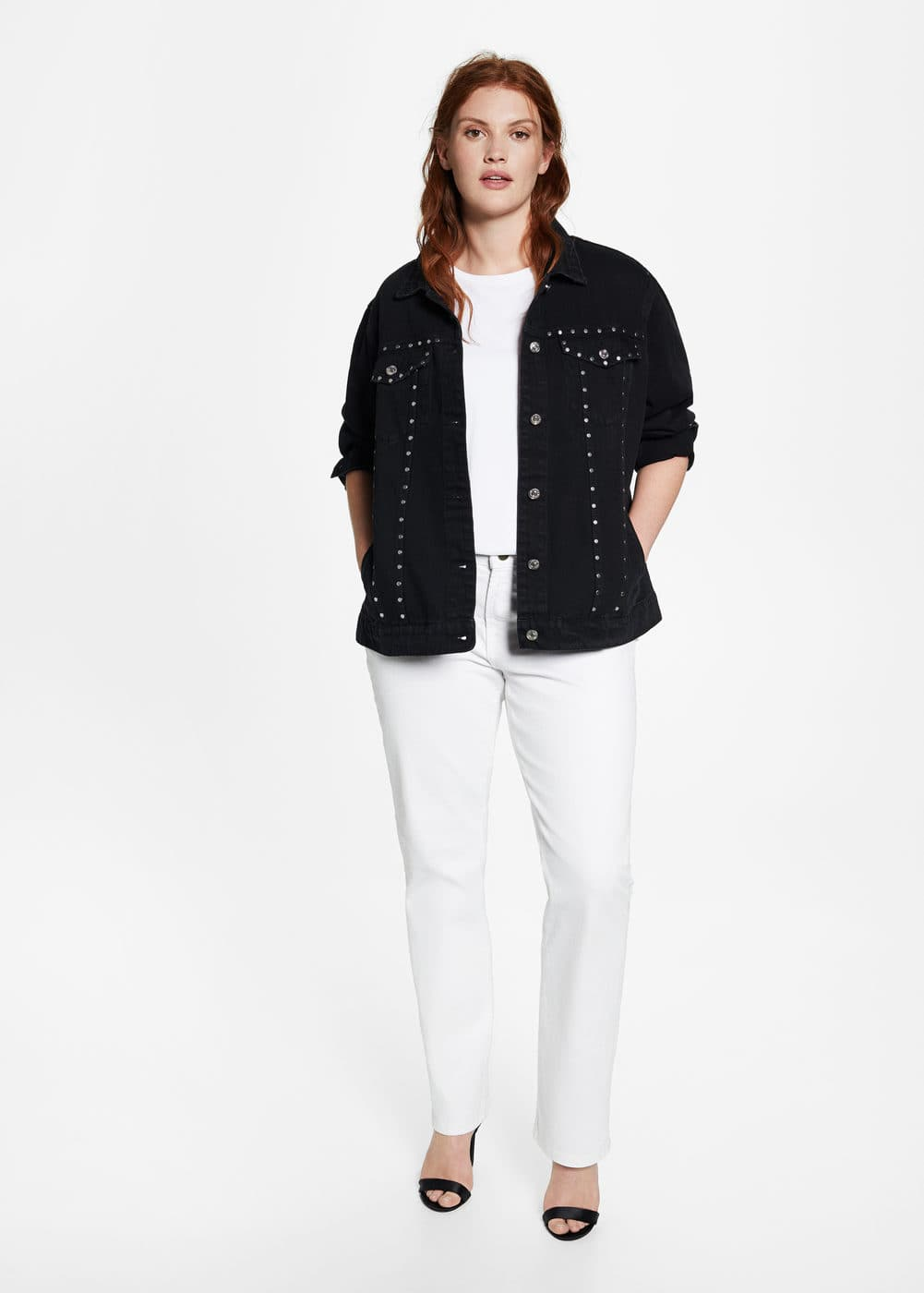 Studded denim jacket | VIOLETA BY MANGO