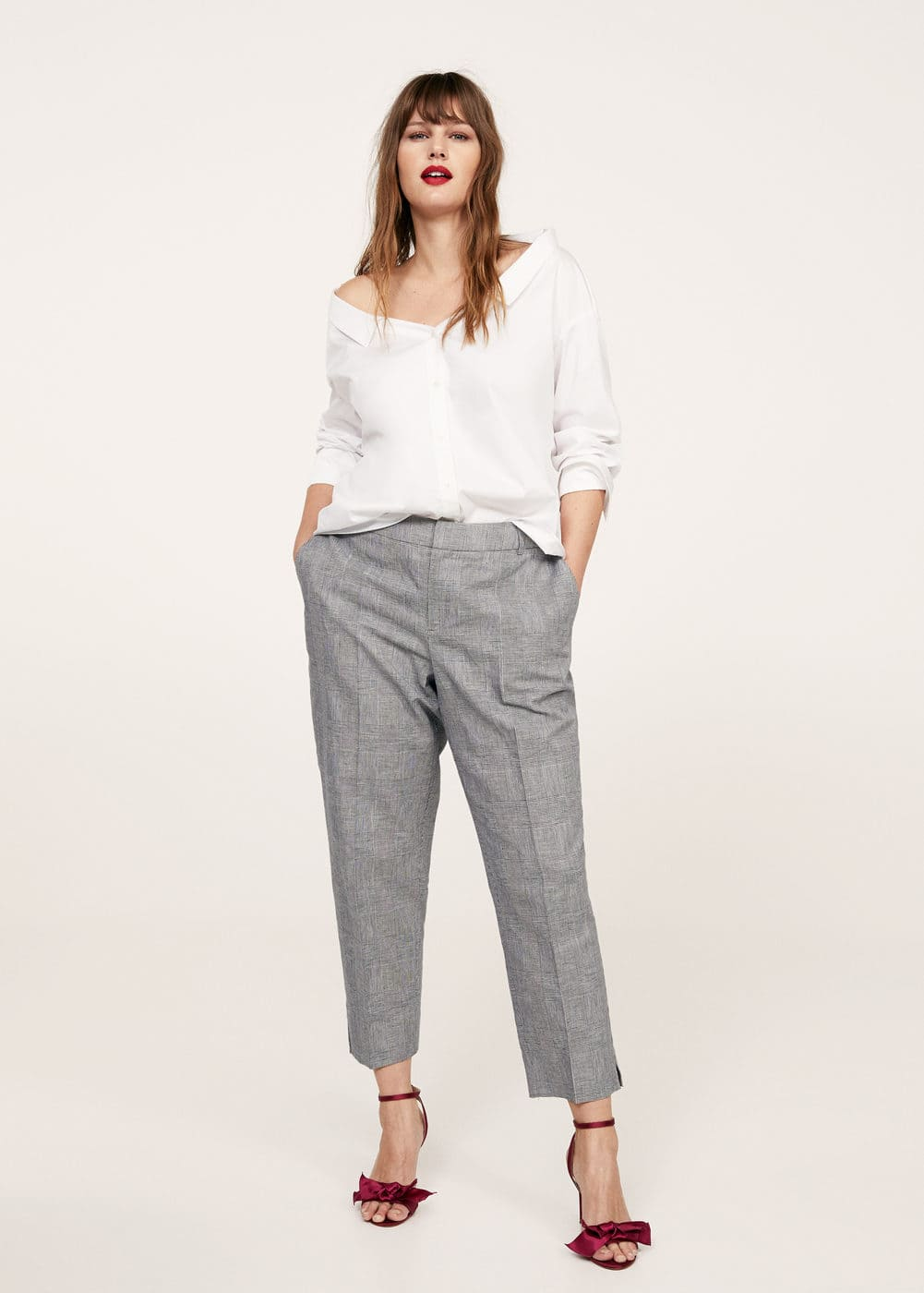Prince of wales linen-blend trousers | VIOLETA BY MANGO