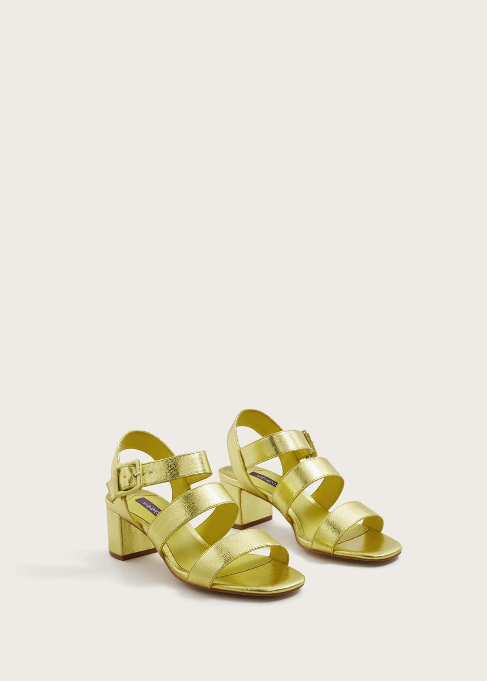 Metallic strap sandals | VIOLETA BY MANGO