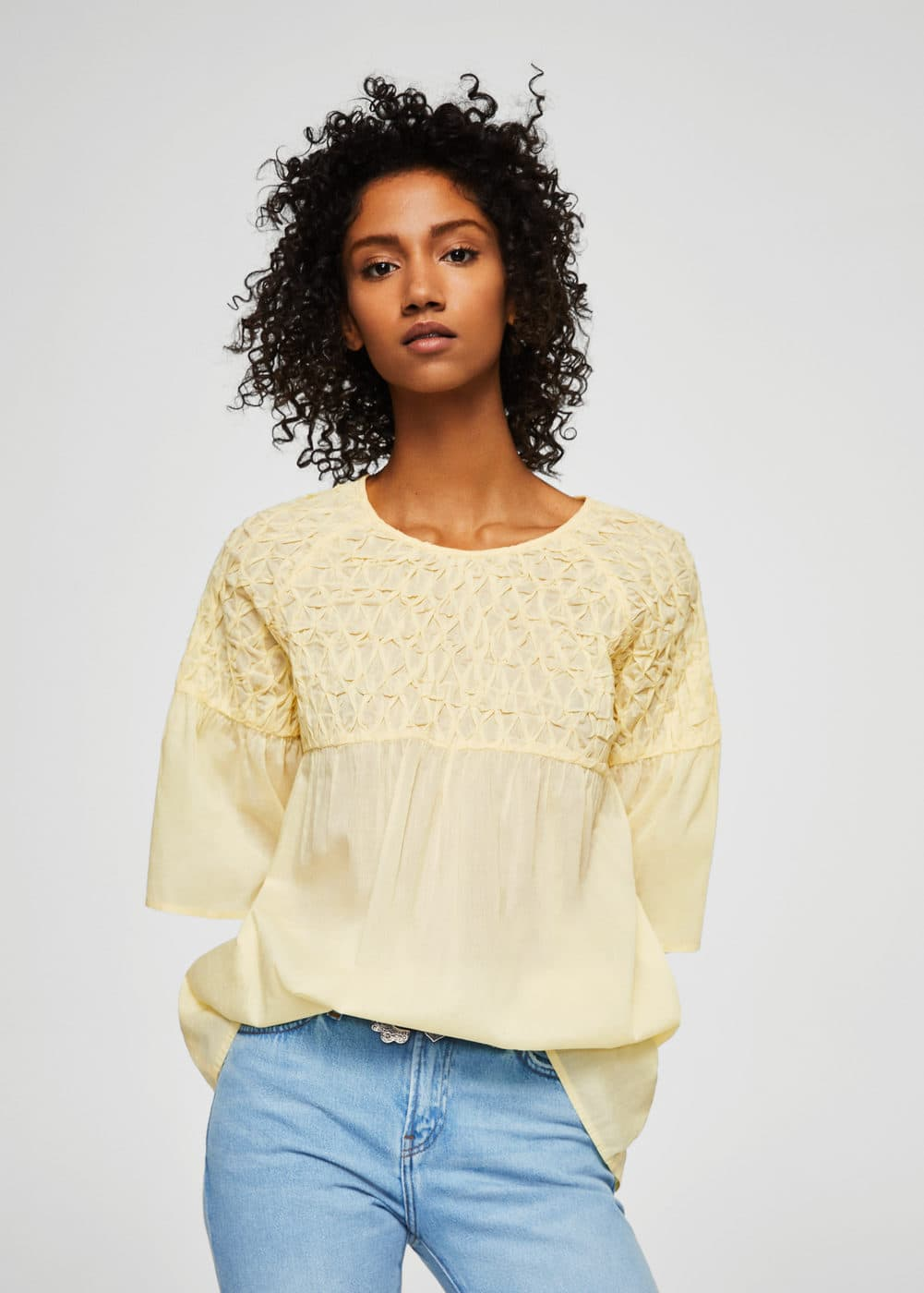Textured panel blouse | MANGO