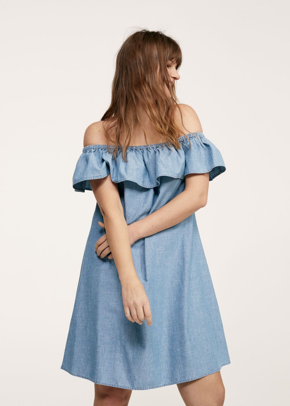 Vestido off-shoulder denim | VIOLETA BY MNG