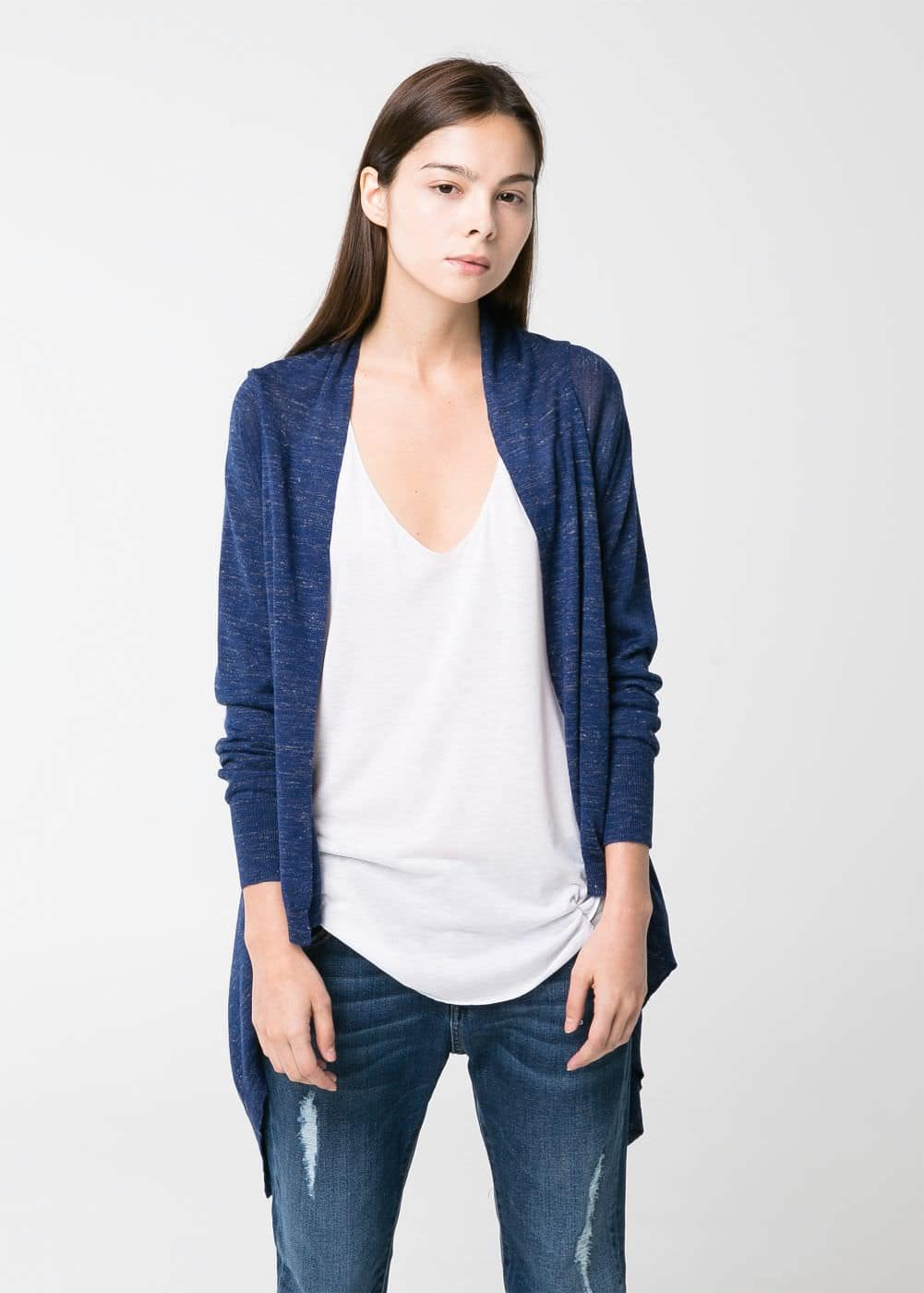 Flecked waterfall cardigan | MANGO