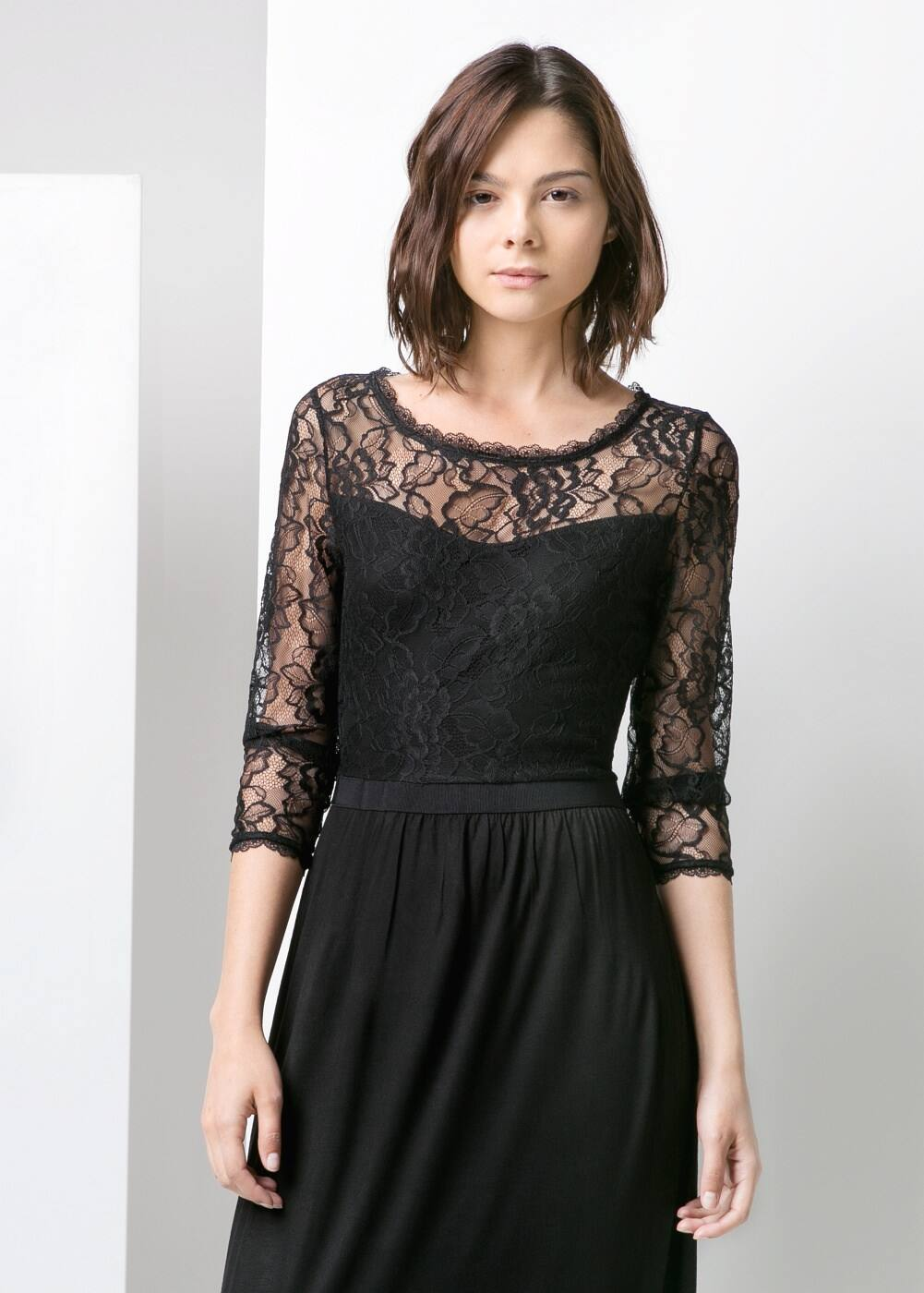 Lace top gown | MANGO