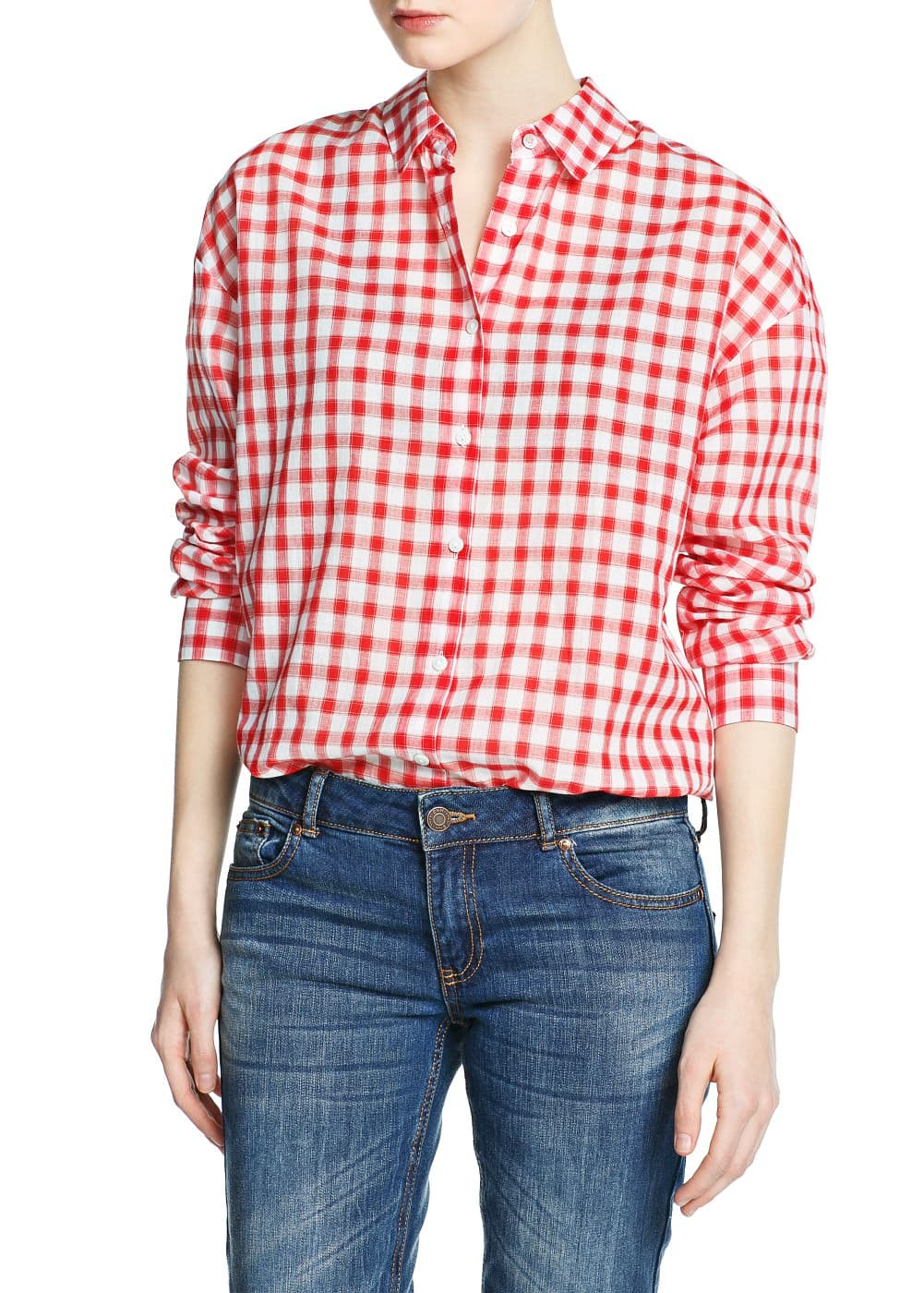 Gingham check cotton shirt | MANGO