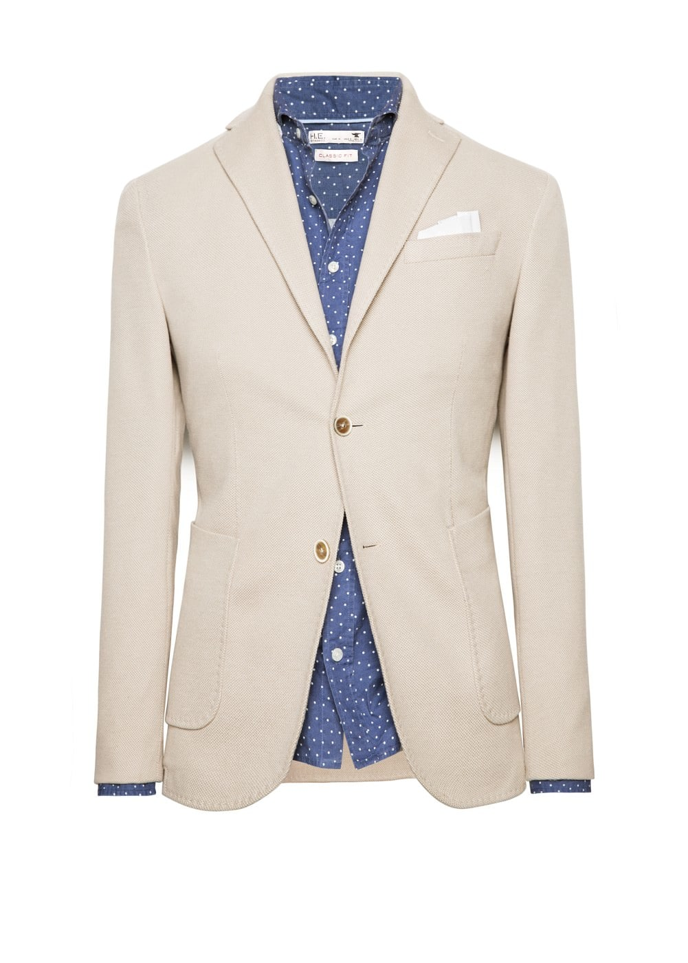 Cotton-blend piqué blazer | MANGO MAN
