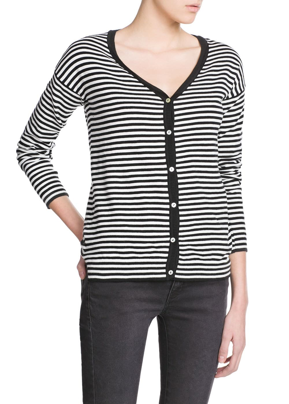 Striped v-neck cardigan | MANGO