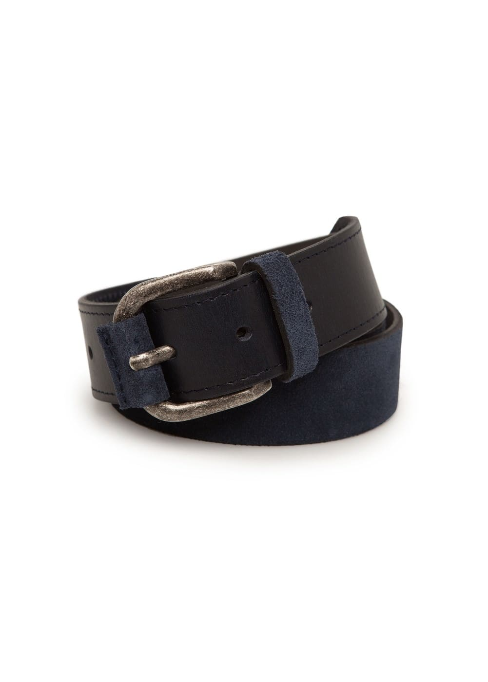Suede and leather belt | MANGO MAN
