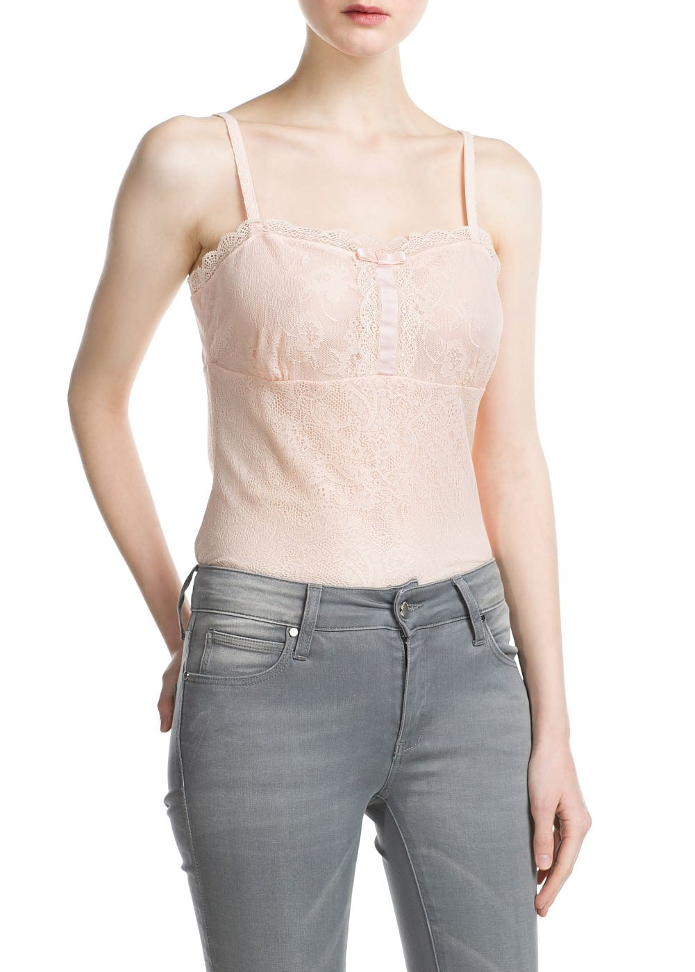 Lace strap top | MANGO KIDS
