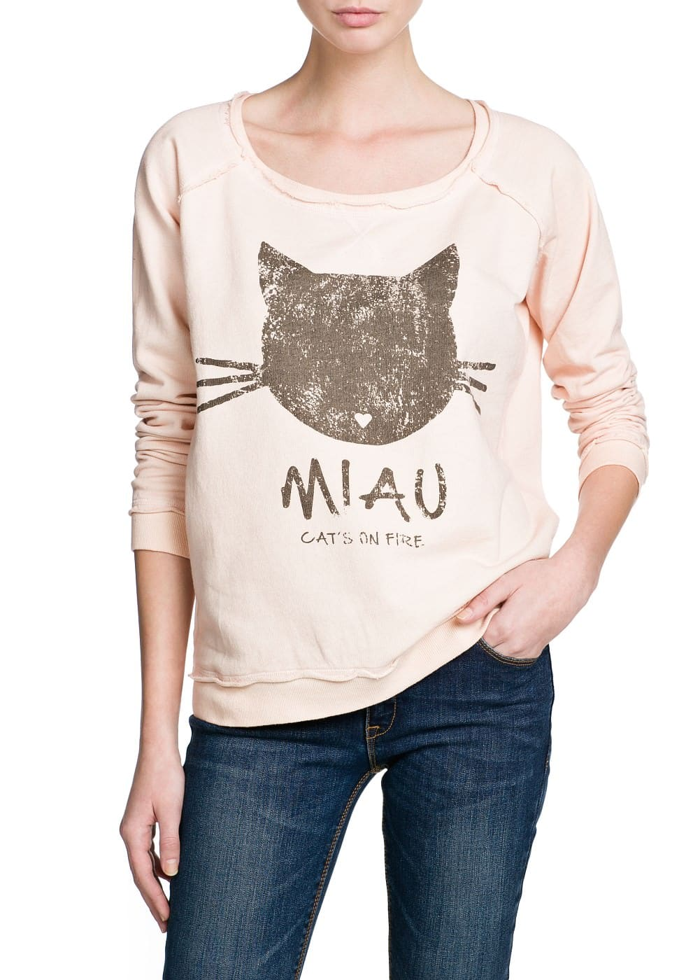 Miau cotton sweatshirt | MANGO