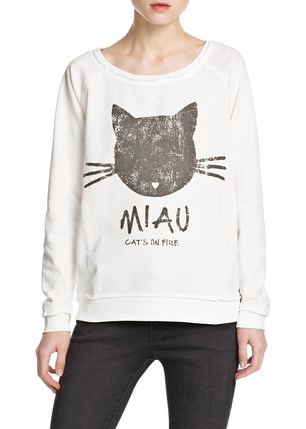 Miau cotton sweatshirt | MANGO MAN