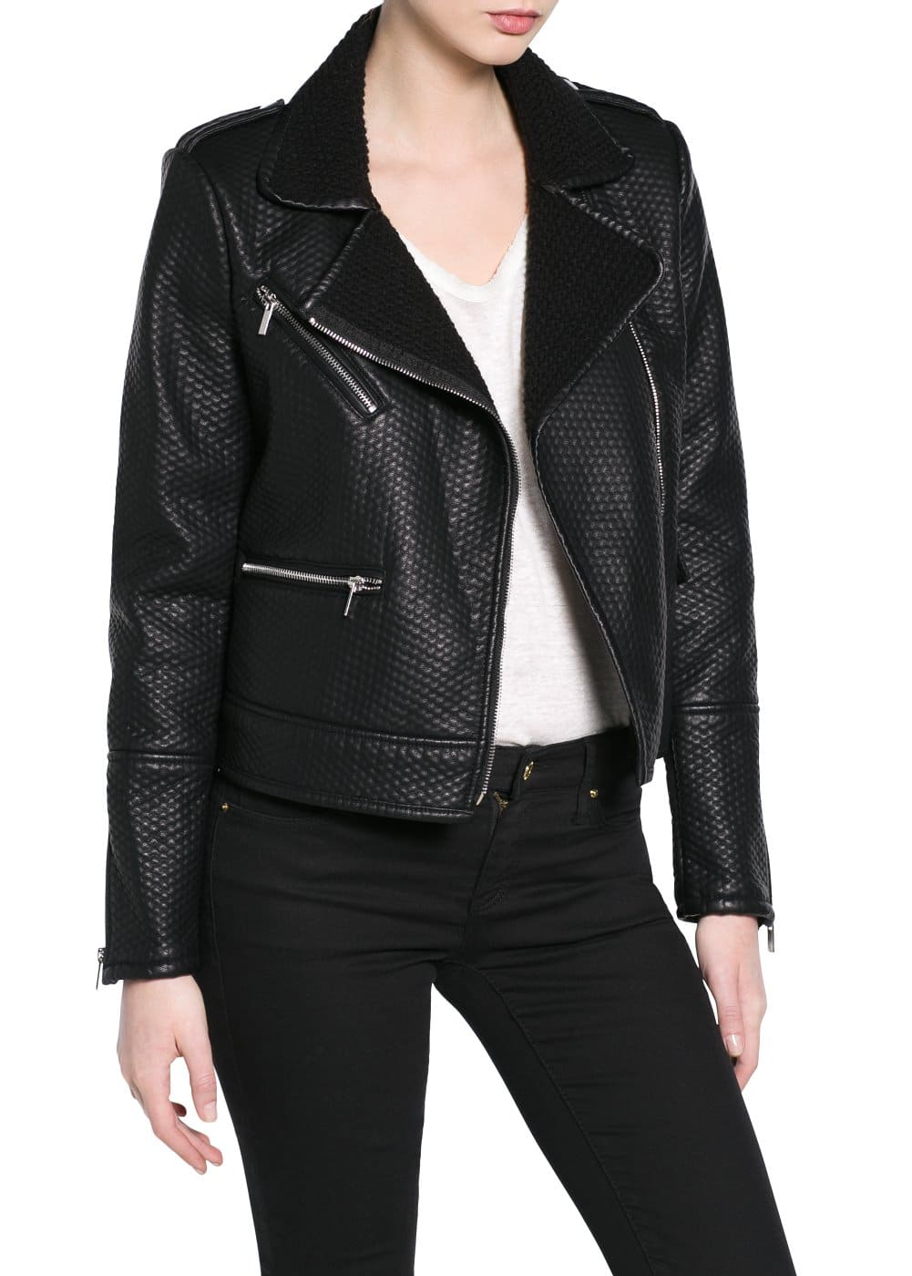 Textured biker jacket | MANGO