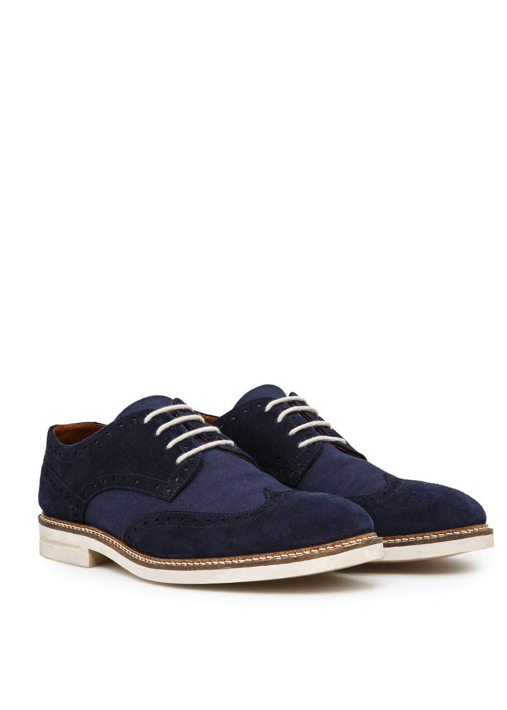 Suede and canvas brogue blucher | MANGO