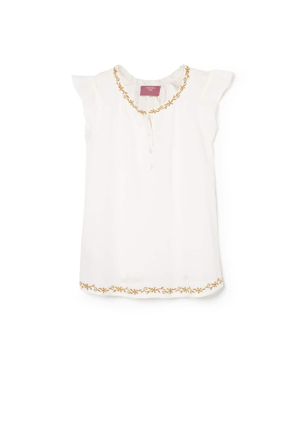 Embroidered cotton blouse | MANGO KIDS