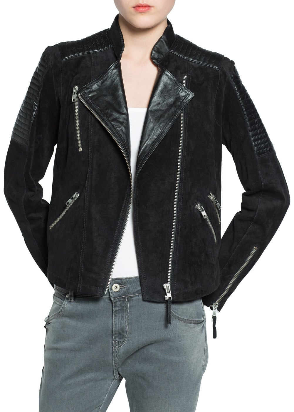 Mixed leather jacket | MANGO