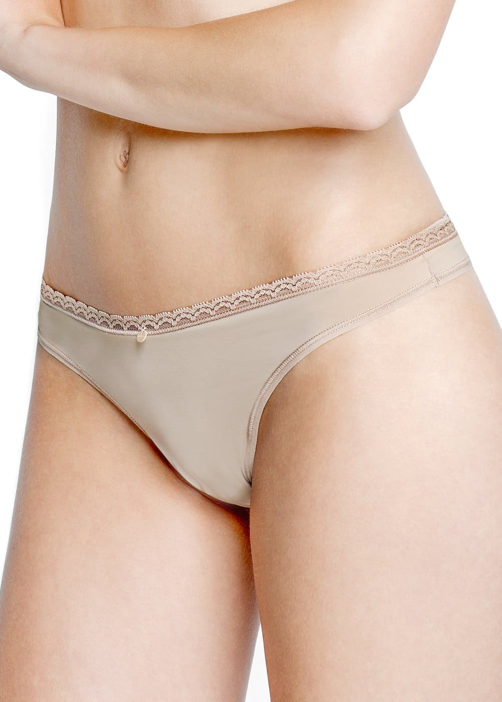 Lace trim thong | MANGO