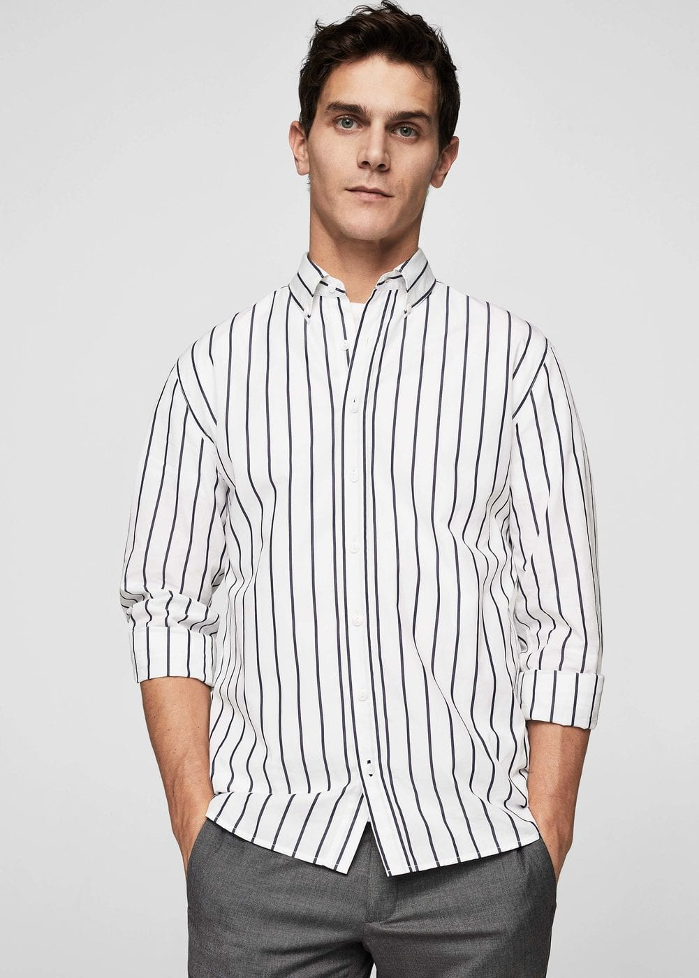 Camisa regular-fit rayas algodón | MANGO