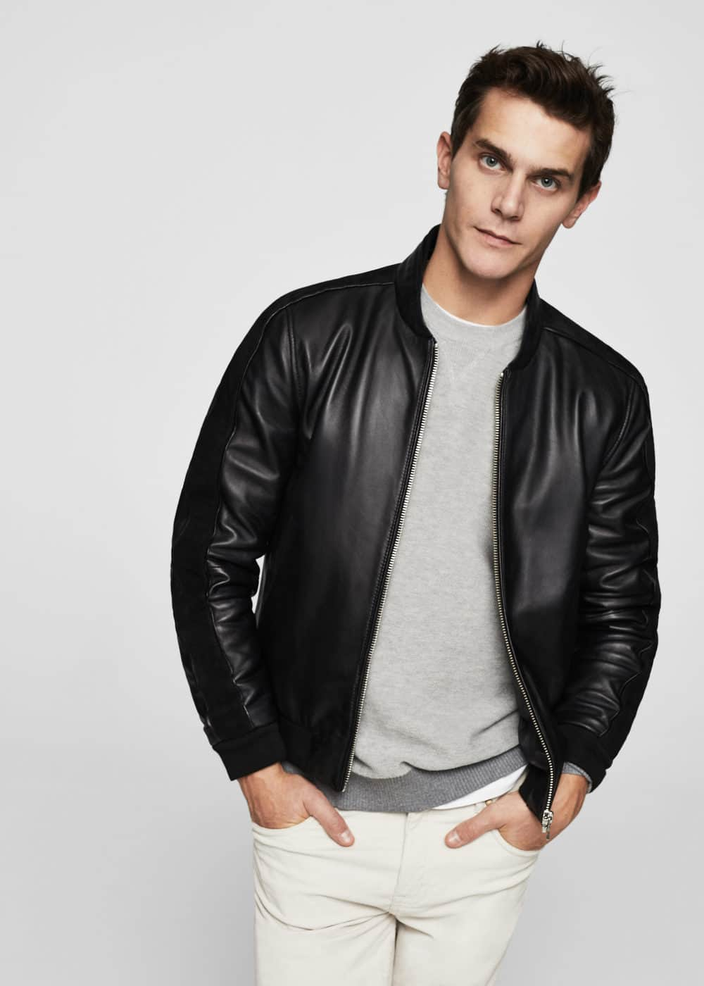 Pocketed leather bomber jacket | MANGO MAN