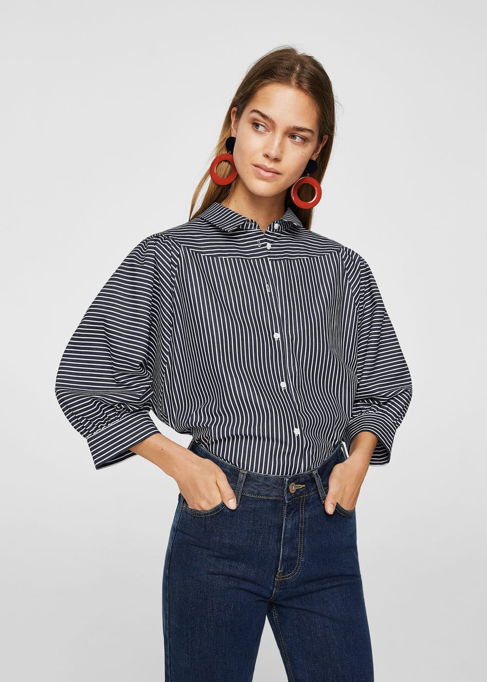 Puffed sleeves striped shirt | MNG
