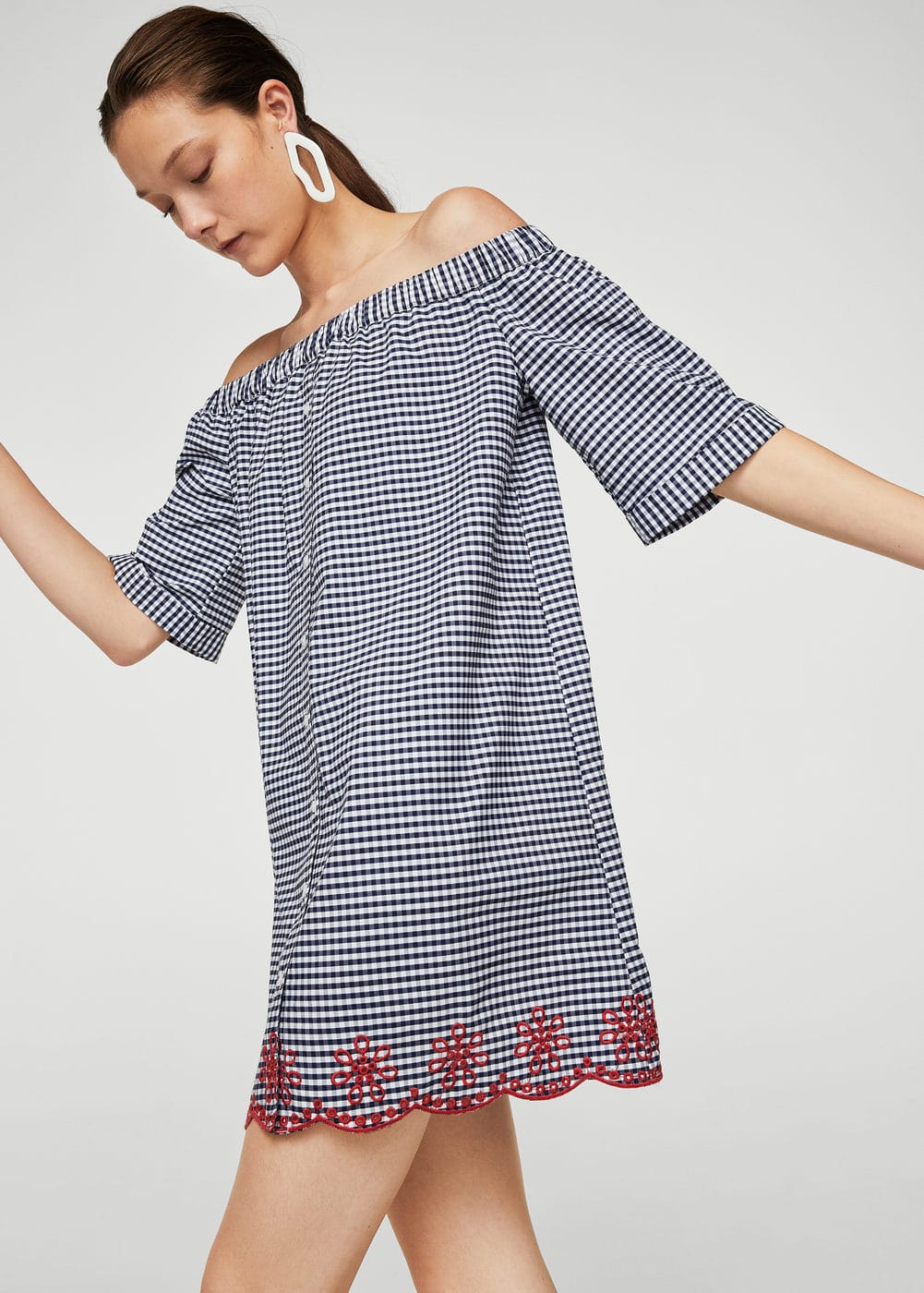 Abito off-shoulder vichy | MANGO