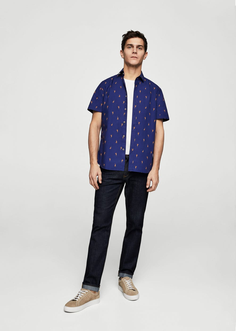 Slim-fit monkeys printed cotton shirt | MANGO MAN