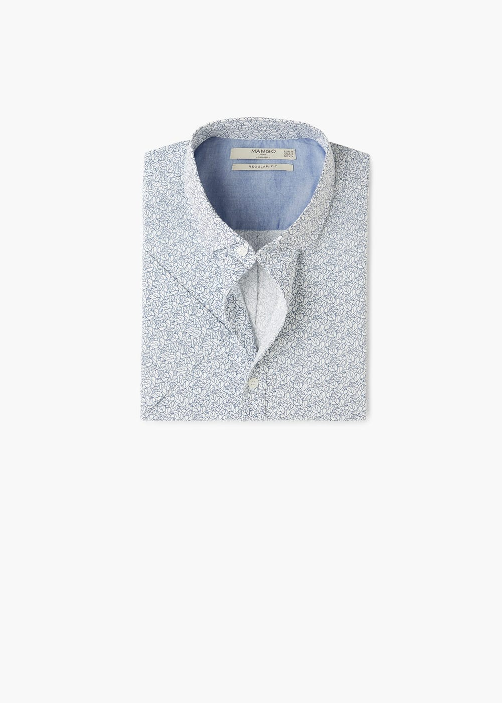 Regular-fit printed cotton shirt | MANGO