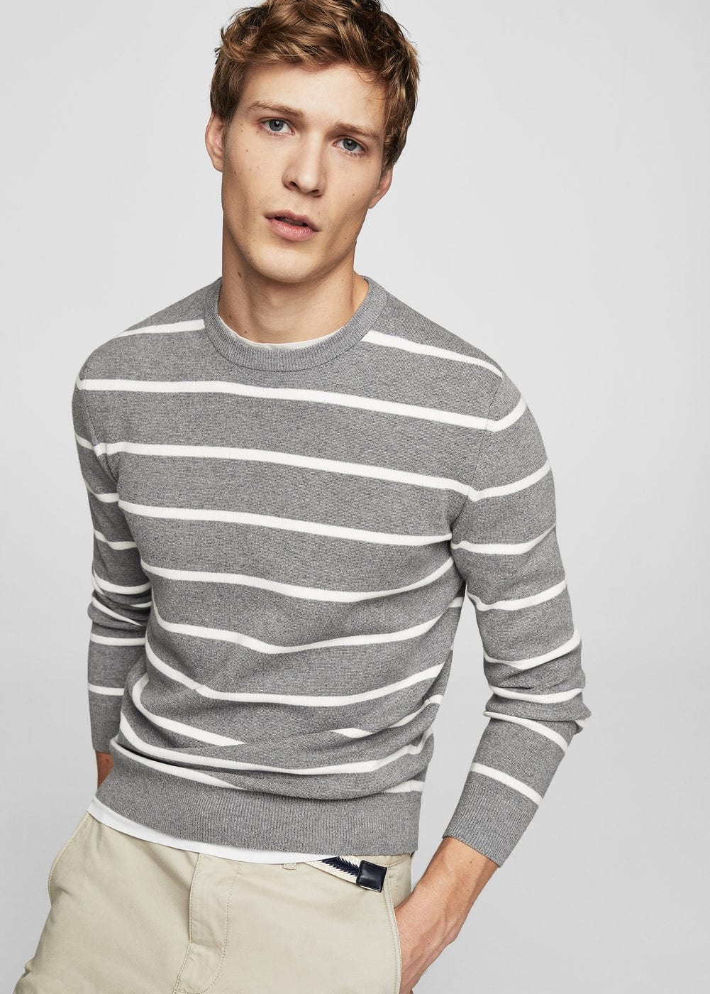 Stripe pattern sweater | MANGO MAN