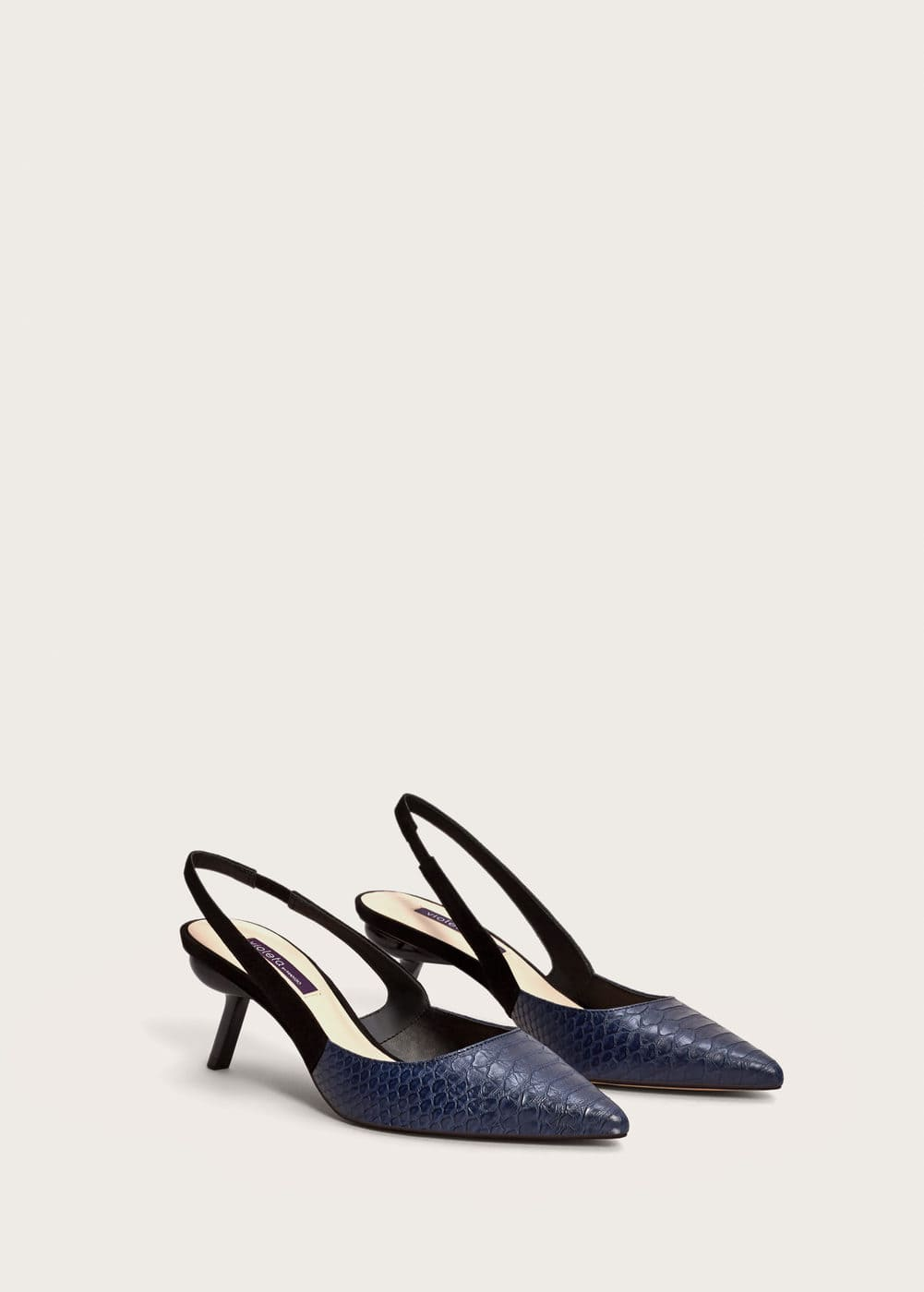 Slingback two-couloured shoes | VIOLETA BY MANGO
