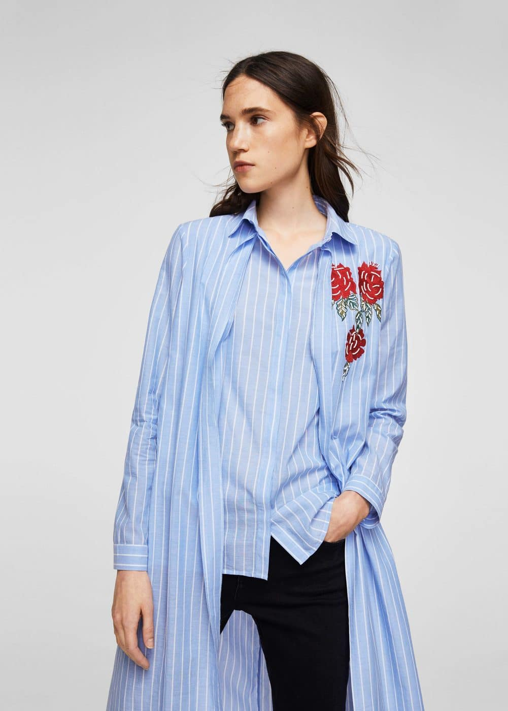 Embroidery long shirt | MANGO