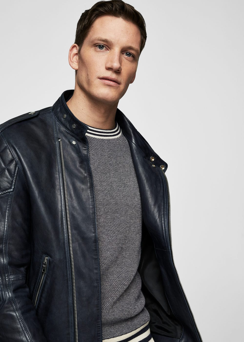 Quilted panels leather jacket | MANGO MAN