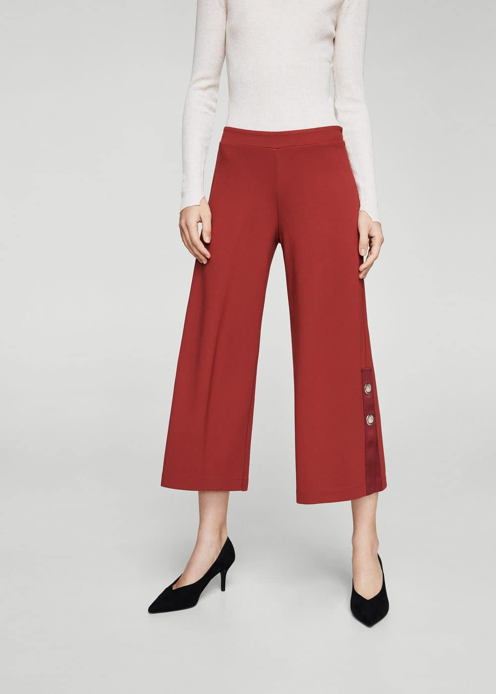 Side eyelets trousers | MANGO