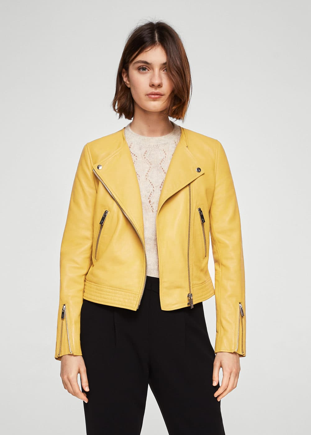 Zip leather jacket | MANGO