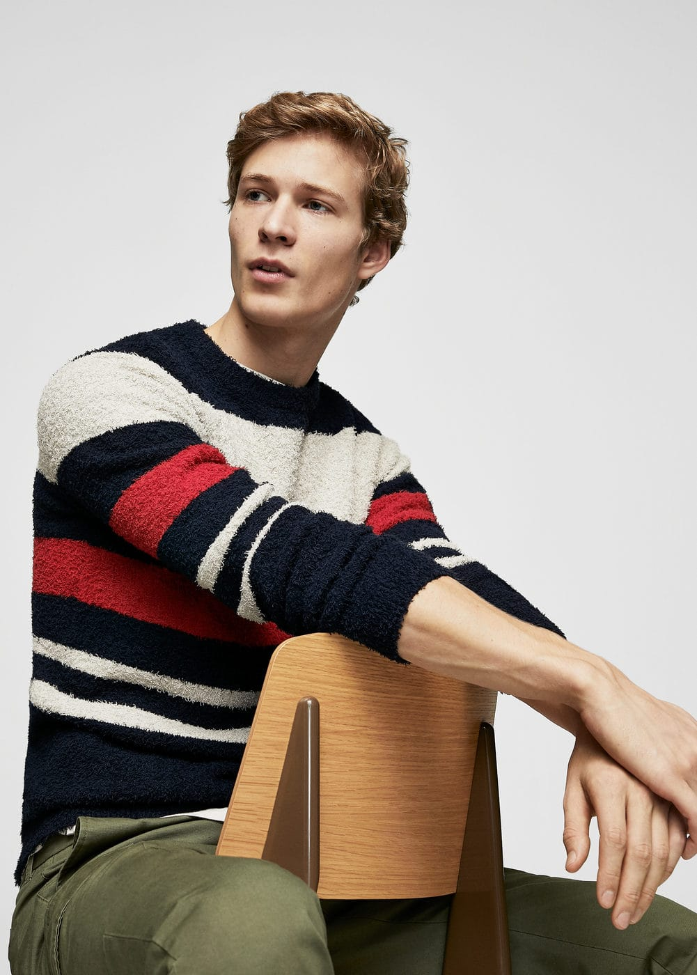 Stripe textured sweater | MANGO MAN