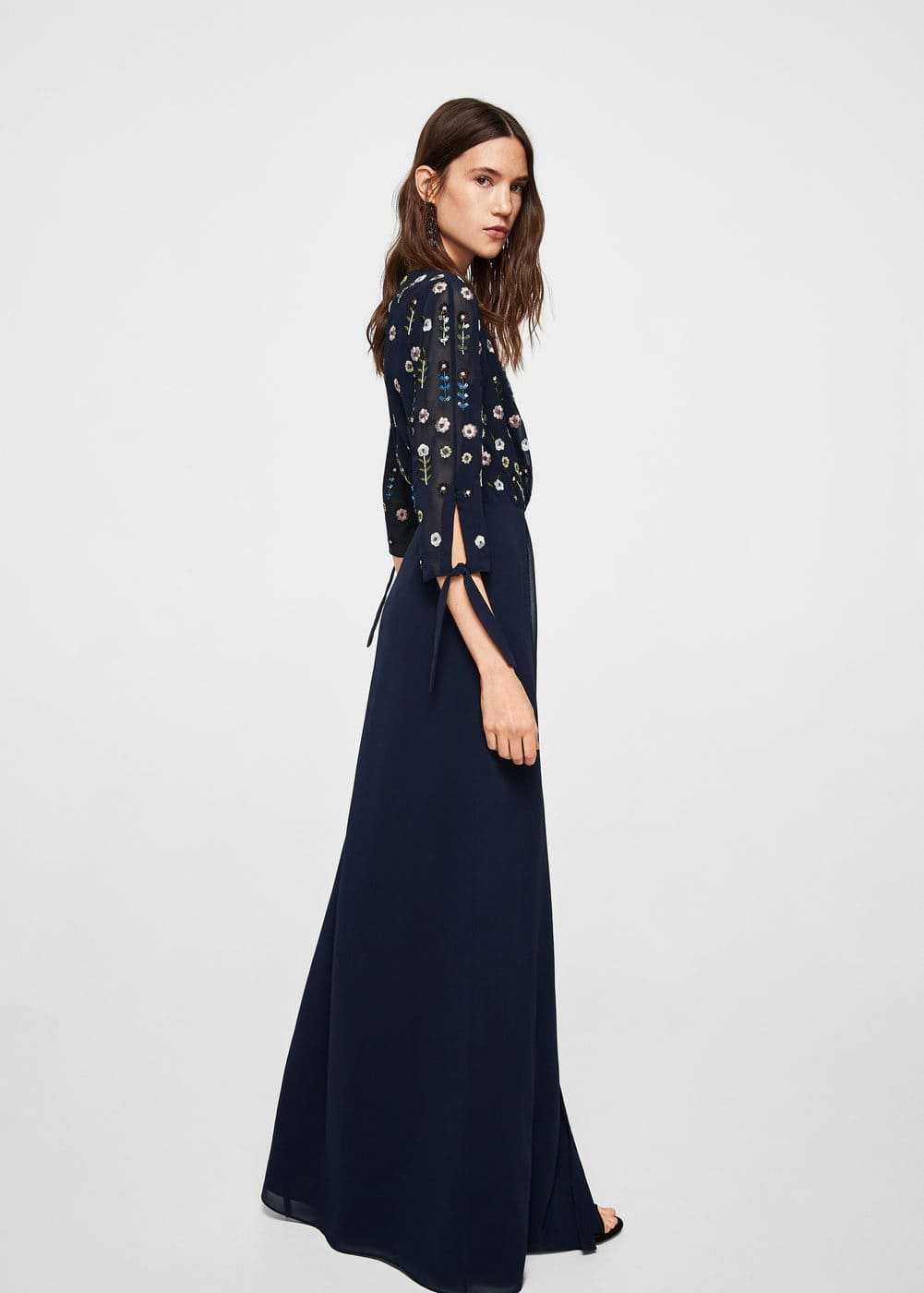 Embroidered long dress | MANGO