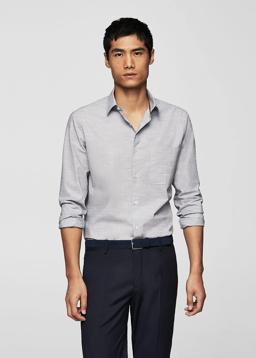 Regular-fit end-on-end cotton shirt | MANGO MAN