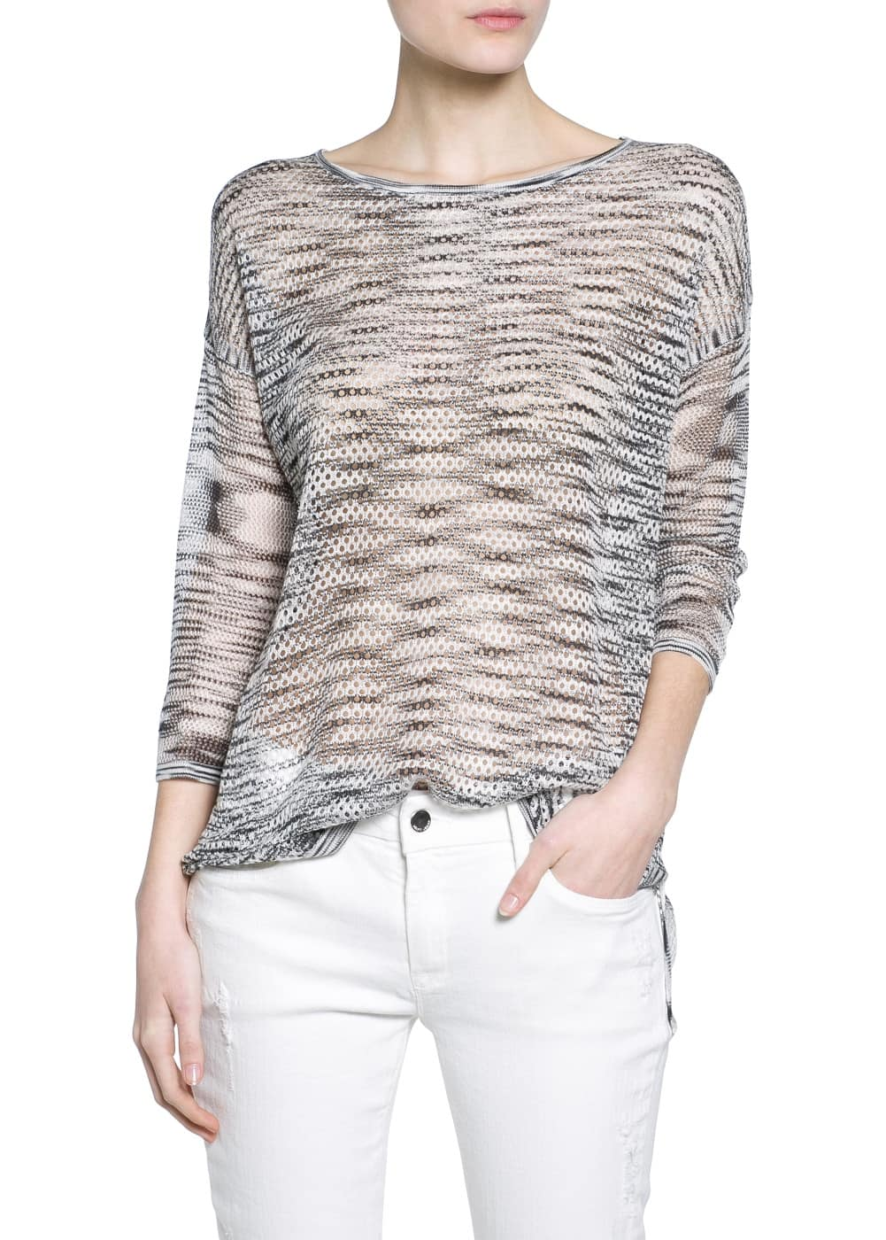 Flecked openwork sweater | MANGO