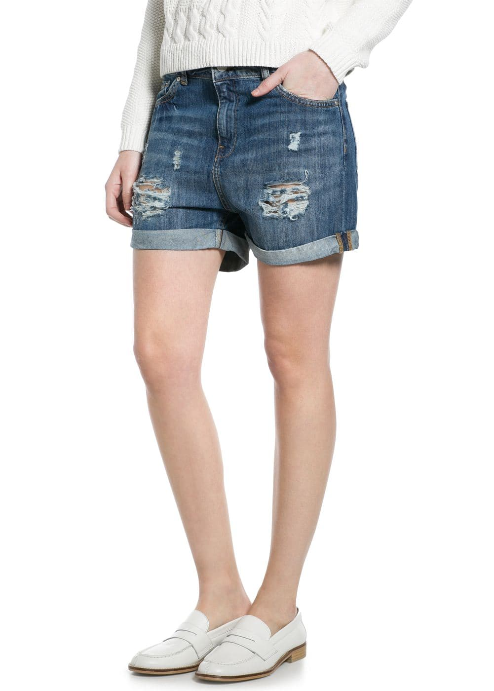 Denim boyfriend shorts | MANGO