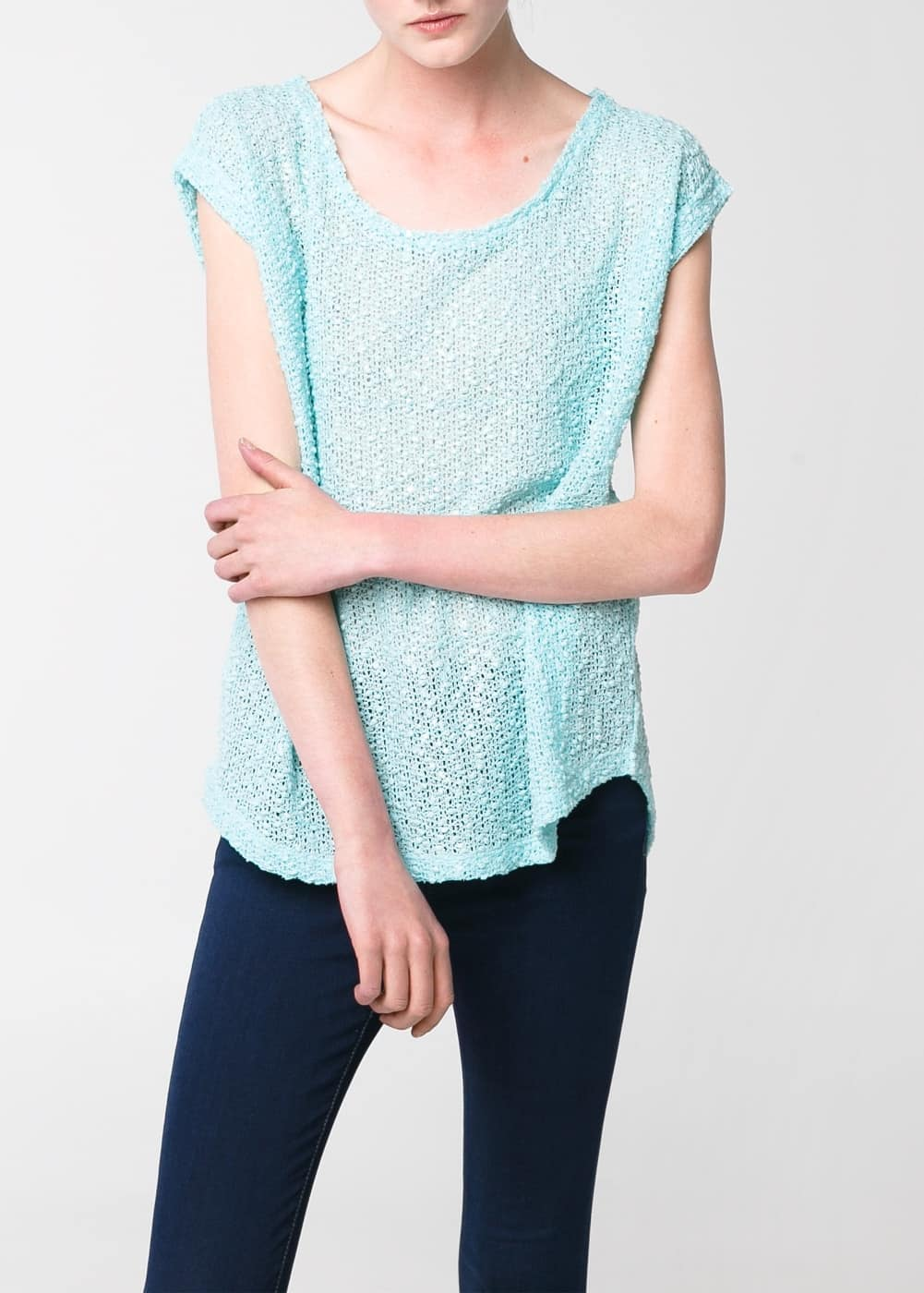 Open-knit t-shirt | MANGO