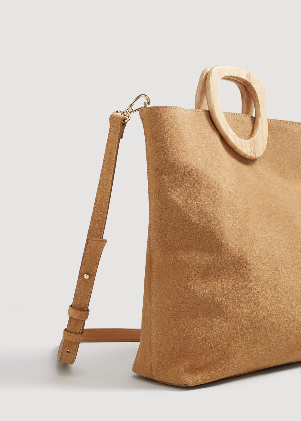 Wooden handle leather bag | MANGO