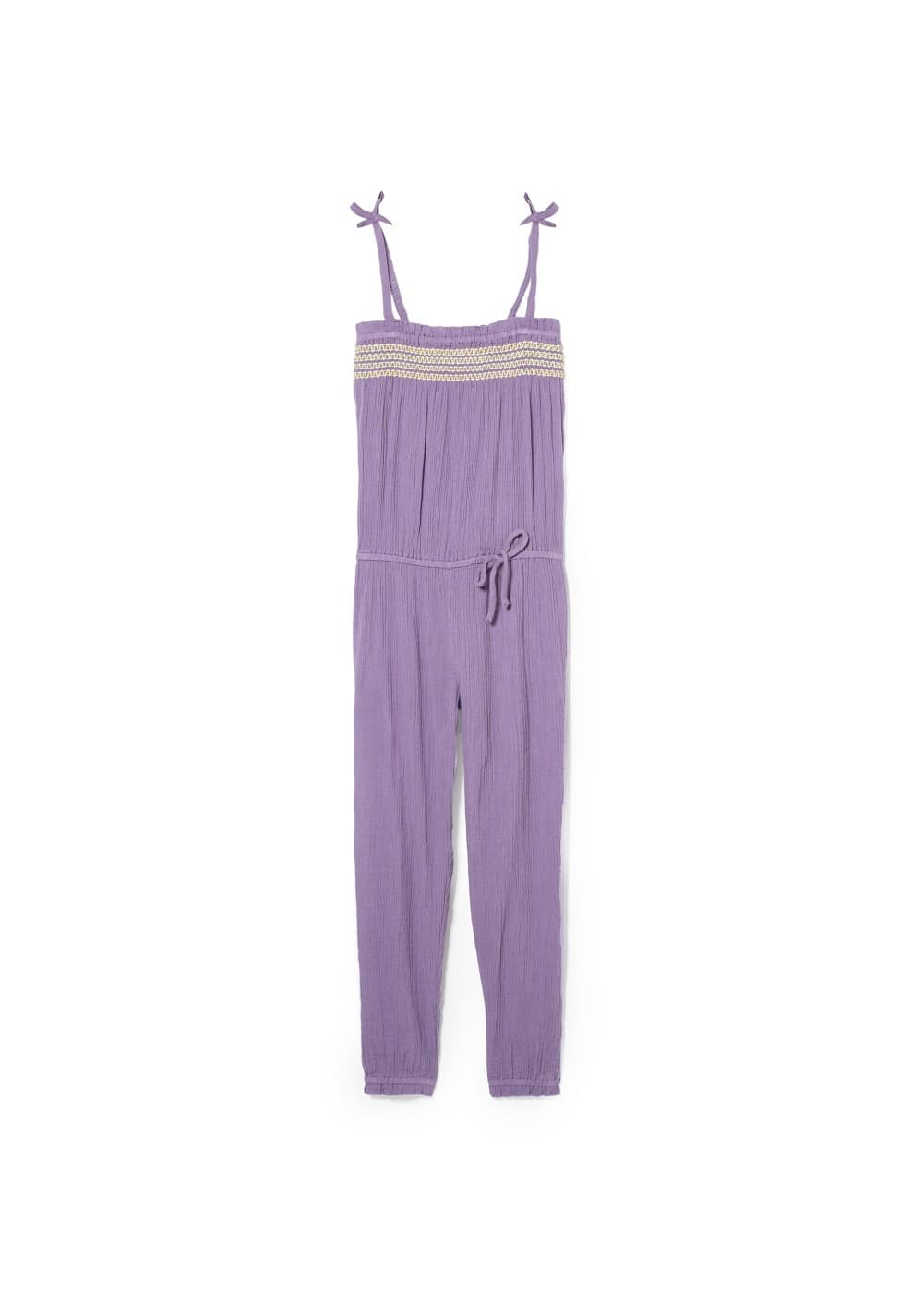 Ruched cotton jumpsuit | MANGO KIDS