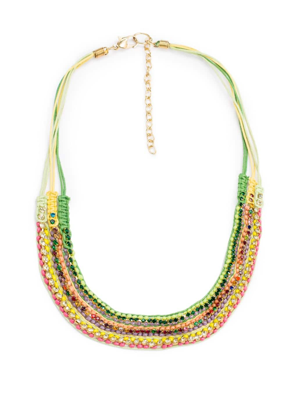 Rhinestone beaded necklace | MANGO KIDS