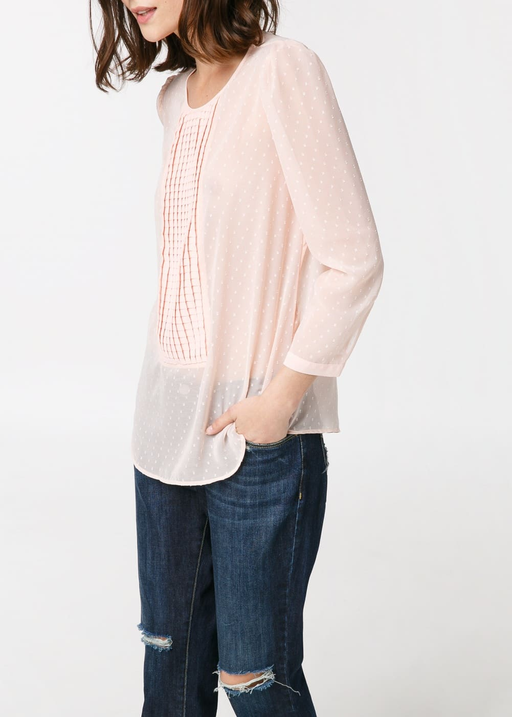 Placket plumeti blouse | MANGO