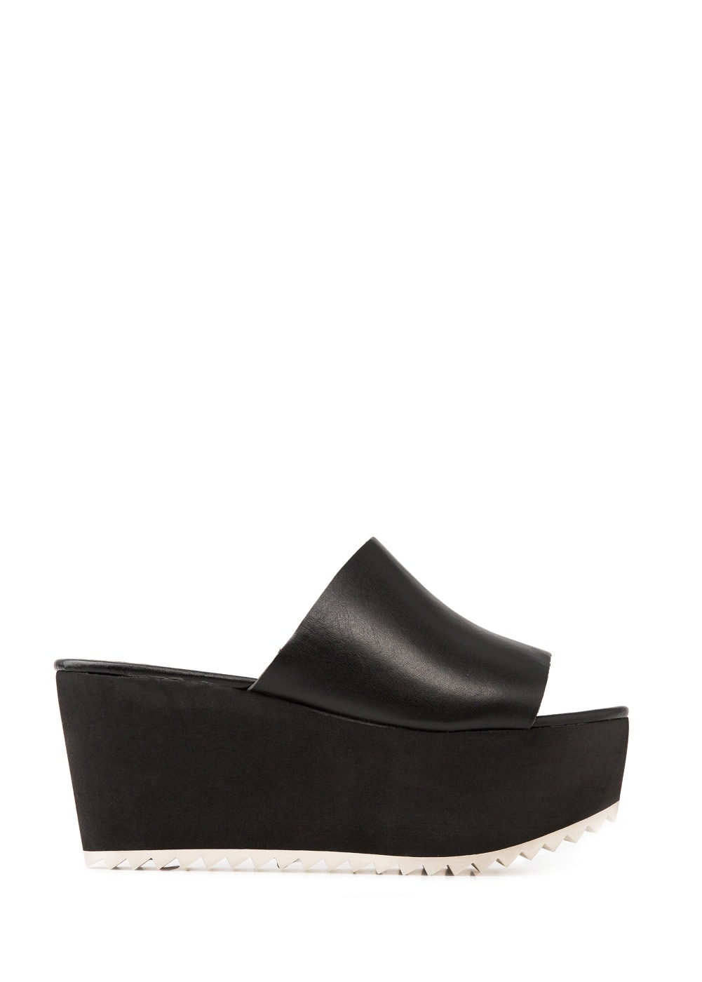 Wedge leather mules | MANGO