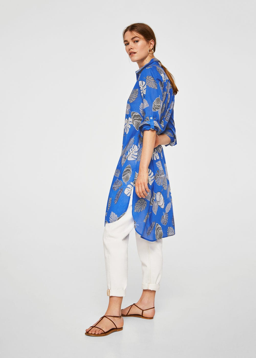 Printed Long Shirt by Mango