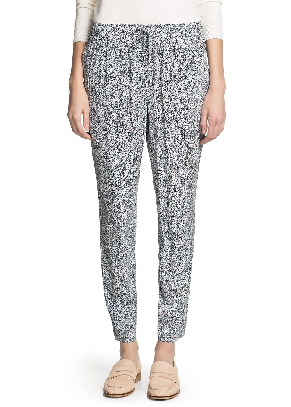 Printed lightweight baggy trousers | MANGO