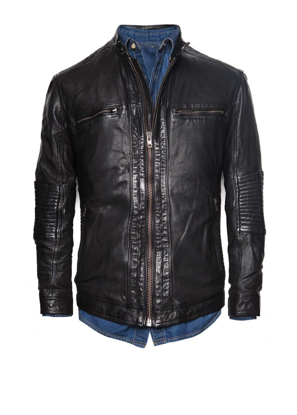 Quilted panel leather jacket | MANGO