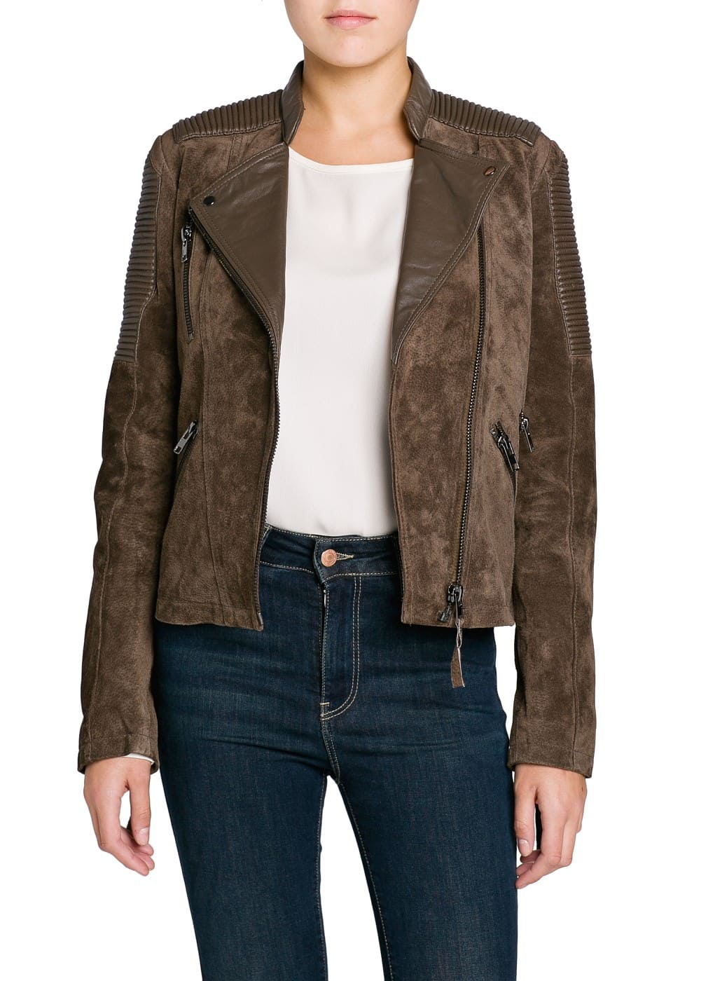 Combi leather biker jacket | MANGO